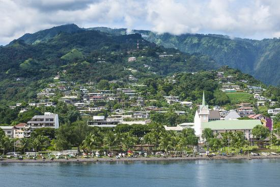 Dramatic mountains looming behind Papeete, Tahiti, Society Islands, French Polynesia, Pacific-Michael Runkel-Photographic Print