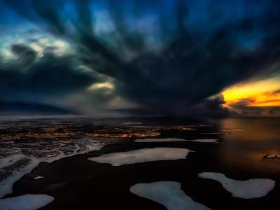 Dramatic Skies over Reykjavik, Iceland Digital Composite-Ragnar Th Sigurdsson-Photographic Print