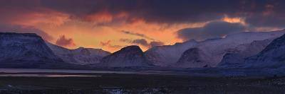 Dramatic Sky Over Mountains and Glaciers Near Thingvellir at Dawn-Raul Touzon-Photographic Print