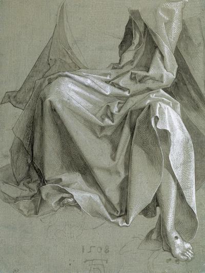 Draperie couvrant les genoux et le torse d'un Chris assis-Albrecht D?rer-Giclee Print