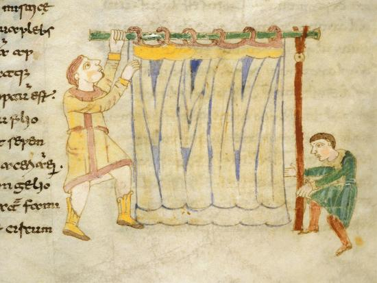 Drapers, Miniature from a Work by Rabano Mauro, Manuscript, Italy 11th Century--Giclee Print
