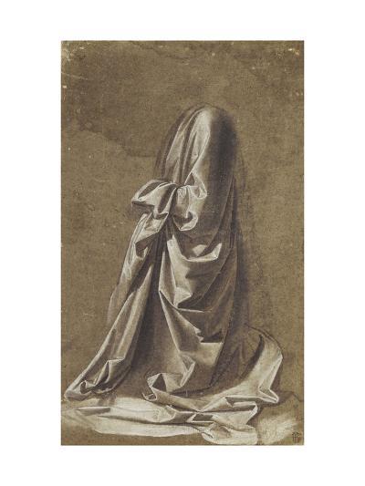 Drapery Study for a kneeling figure-Leonardo da Vinci-Giclee Print
