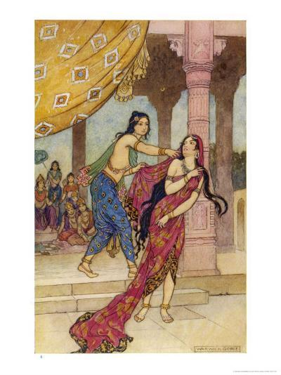 Draupadi the Polyandrous Wife of the Katava Brothers is Attacked by Prince Duhsasana-Warwick Goble-Giclee Print