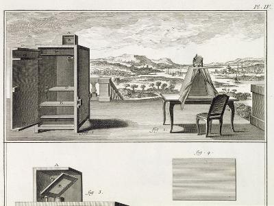 Drawing Aids: a Basic Wooden Camera Obscura and a Portable Obscura, Plate IV from the Encyclopedia --Giclee Print
