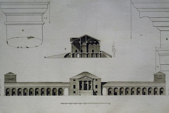 Drawing and Section of Villa Emo Capodilista, Near Padua--Giclee Print
