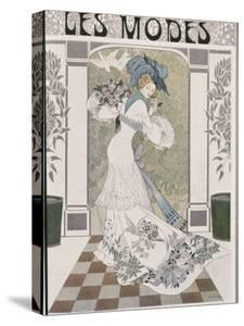 Drawing by Artist de Feure of Young Fashionable Woman on Cover of French Periodical Les Modes