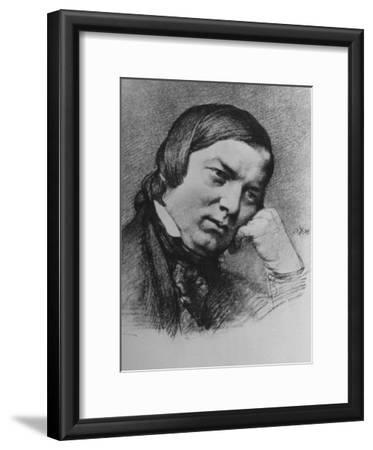 Drawing by Bendemann Dated 1859 of German Composer Robert Schumann