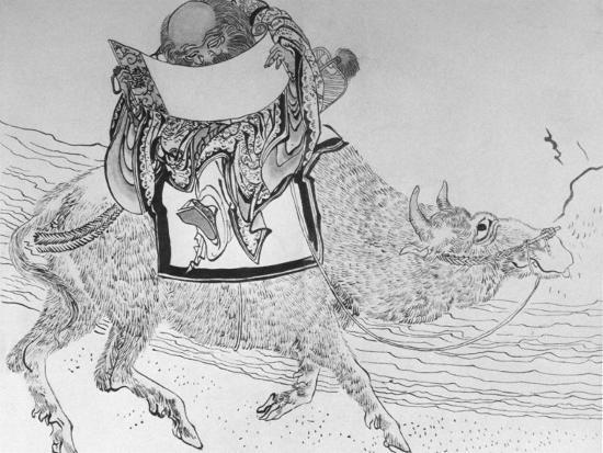 Drawing by Japanese Artist Hokusai of Chinese Philosopher Lao Tse, Founder of Taoism--Photographic Print