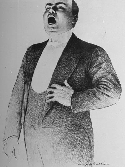 Drawing by L. Sabattier of Enrico Caruso Singing at Charity Soiree--Premium Photographic Print