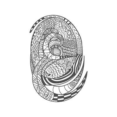 Drawing Decorative Snake Pattern- slavaleks-Art Print