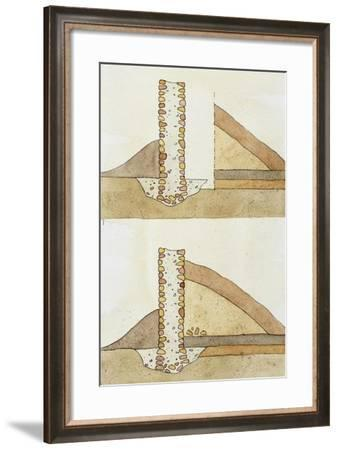 Drawing Depicting Techniques Used in Archaeological Excavation--Framed Giclee Print