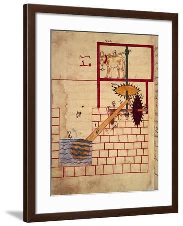 """Drawing Depicting the Invention of a Water Pump from """"The Book of Mechanical Knowledge""""--Framed Giclee Print"""