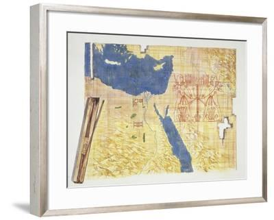 Drawing Depicting the Map of the Course of the River Nile, Era of Ramses II--Framed Giclee Print