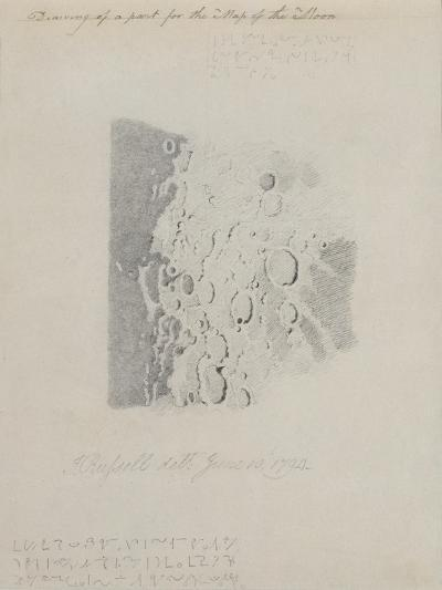 Drawing for the Map of the Moon, 1794 (Pencil on Paper)-John Russell-Giclee Print