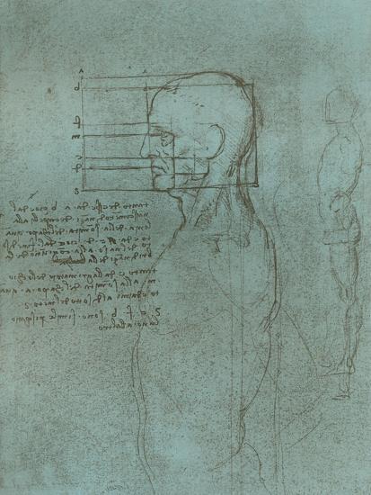 Drawing illustrating the theory of the proportions of the human figure, c1472-c1519 (1883)-Leonardo da Vinci-Giclee Print