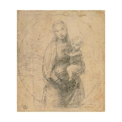 Drawing, Madonna and Child at two thirds figure-Raphael-Art Print