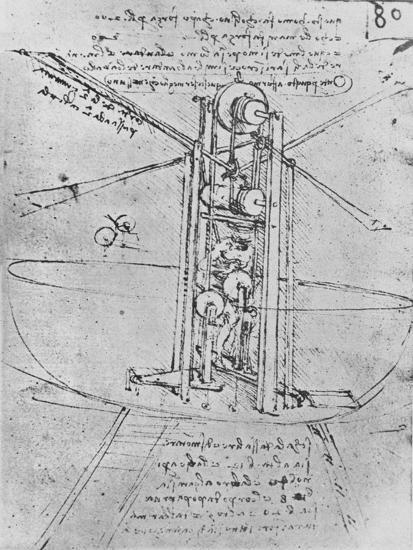 'Drawing of a Flying Machine with a Man Operating It', c1480 (1945)-Leonardo da Vinci-Giclee Print