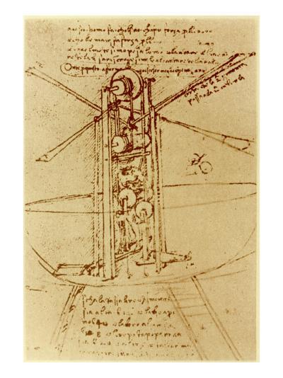 Drawing of a Flying Machine-Leonardo da Vinci-Giclee Print