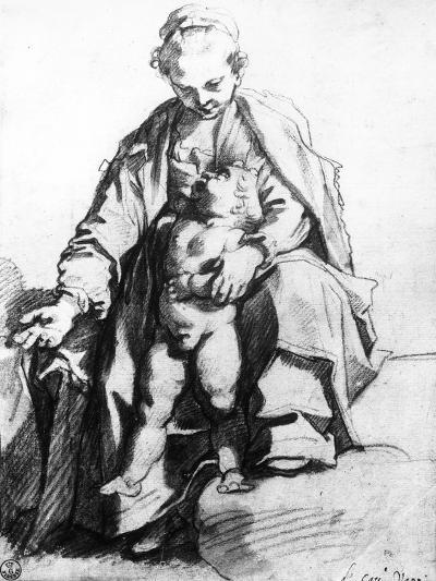 Drawing of a Woman with Child, the Uffizi Gallery-Francesco Vanni-Giclee Print