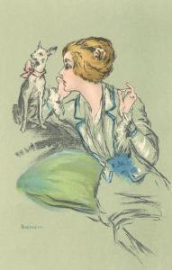 Drawing of Lady with Whippet