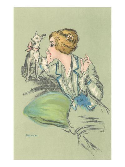 Drawing of Lady with Whippet--Art Print