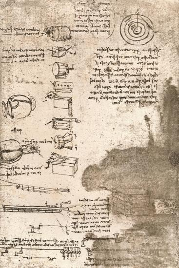 Drawing of musical instruments and other objects, c1472-c1519 (1883)-Leonardo da Vinci-Giclee Print