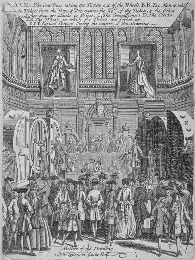 Drawing of the State Lottery in the Guildhall, City of London, 1739--Giclee Print