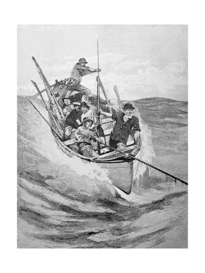 Drawing of Whalers in Boat--Giclee Print