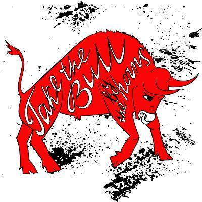 Drawing Red Angry Bull on the Grunge Background with Artwork Inscription: Take the Bull by the Horn-Ana Babii-Art Print