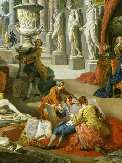 Drawing Students Copying Antiquities, from Gallery of Views of Ancient Rome, 1758-Giovanni Paolo Pannini-Giclee Print