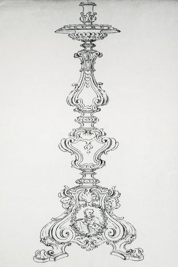 Drawing with Preparatory Study for Candelabra in Brass--Giclee Print