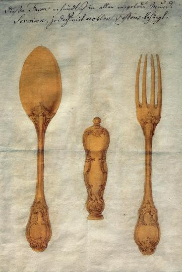 Drawing with Preparatory Study for Set of Rococo-Style Silver-Gilt Cutlery, Augusta, Ca 1750--Giclee Print