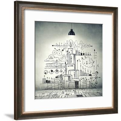 Drawn Business Plan on Wall Illuminated by Lamp-Sergey Nivens-Framed Photographic Print