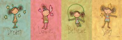 Dream, Love Believe and Sing Panel-Anne Tavoletti-Premium Giclee Print