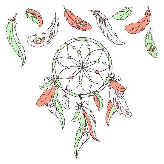 Dreamcatcher, Feathers. Vector Illustration. American Indian Dream Catcher Traditional Symbol.- LAATA9-Art Print