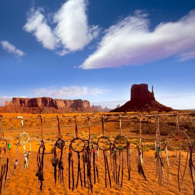 Dreamcatcher Monument West Mitten Butte Morning With Navajo Indian Crafts Utah-holbox-Art Print