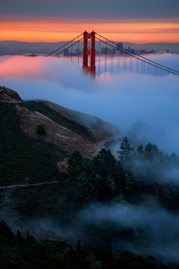 Dreamy Golden Sunrise and Fog, Golden Gate Bridge, San Francisco-Vincent James-Photographic Print