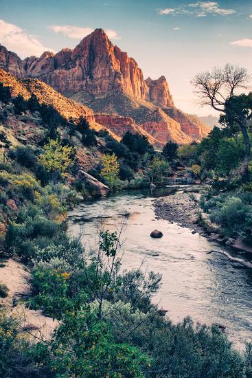 Dreamy Zion, Virgin River and Watchmen in Autumn, Zion National Park-Vincent James-Photographic Print