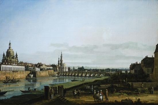 Dresden from Right Bank of Elbe Upstream from Bridge of Augustus, Circa 1750-Bernardo Bellotto-Giclee Print
