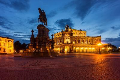 Dresden, Semperoper, King Johann Monument, Blue Hour-Catharina Lux-Photographic Print