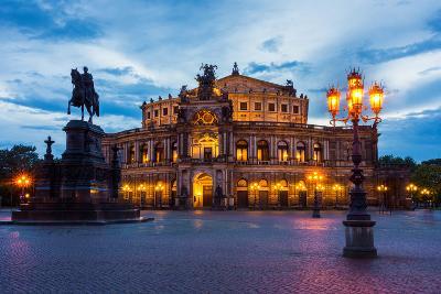Dresden, Semperoper, King Johann Monument, Blue Hour-Catharina Lux-Photographic Print