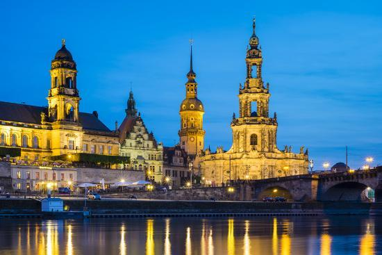 Dresden skyline and historic buildings along Elbe River, Altstadt (Old Town), Dresden, Germany-Jason Langley-Photographic Print