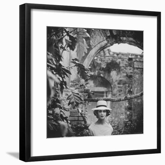 Dress and Hat with Multi Colored Rosettes Made of Ribbon on Each Side, by Cuban Designer Adolfo-Gordon Parks-Framed Premium Photographic Print