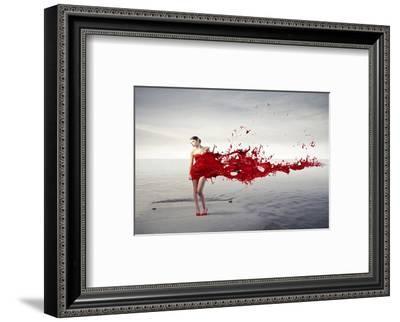 Dress Melting In Red Paint--Framed Art Print
