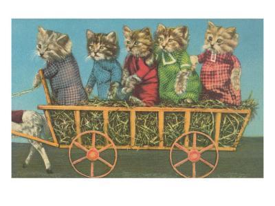 Dressed Kittens Go for a Hayride--Art Print