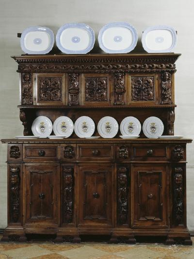 Dresser with Dishes, Dining Room in Visconti San Vito Castle, Somma Lombardo, Lombardy, Italy--Giclee Print