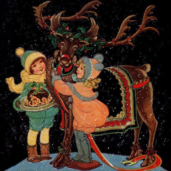 Dressing the Reindeer - Child Life-Hazel Frazee-Giclee Print
