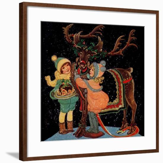 Dressing the Reindeer - Child Life-Hazel Frazee-Framed Giclee Print
