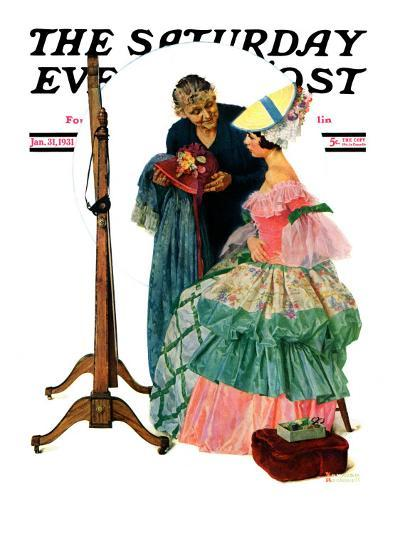 """""""Dressmaker"""" Saturday Evening Post Cover, January 31,1931-Norman Rockwell-Giclee Print"""