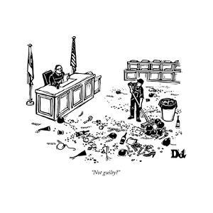 """Not guilty?"" - New Yorker Cartoon by Drew Dernavich"